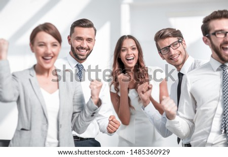 close up.image of a happy business team. #1485360929