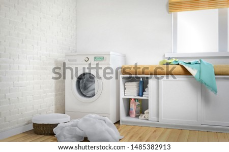 Laundry room, linen, white Brick wall and wood floor. 3d illustration #1485382913