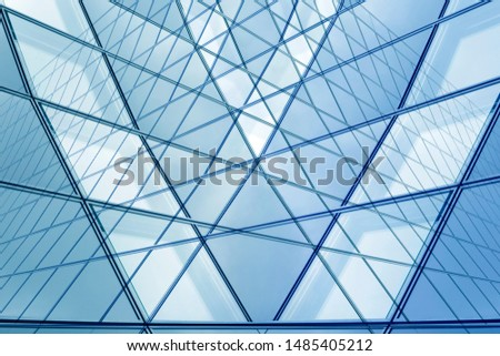 Collage photo of framed hi-tech glass structures. Transparent wall, ceiling or roof fragments with metal framework. Structural glazing. Abstract modern architecture, interior or technology background. #1485405212