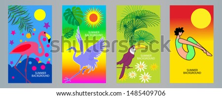 Tropical relaxation and nature. Vector Illustration concept. #1485409706