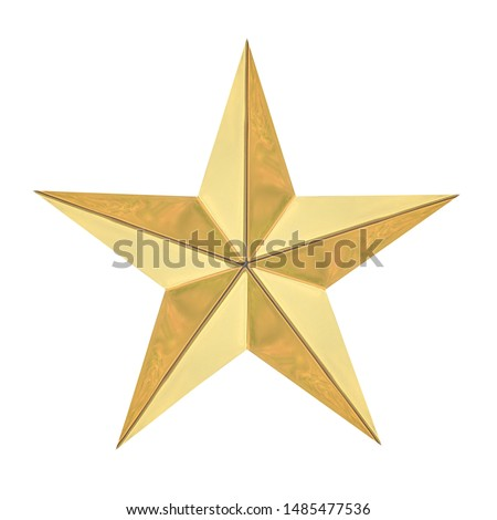 Golden Christmas Star isolated on white background with Clipping path #1485477536