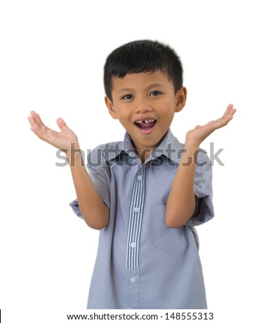 Surprised child isolated on a over white background #148555313