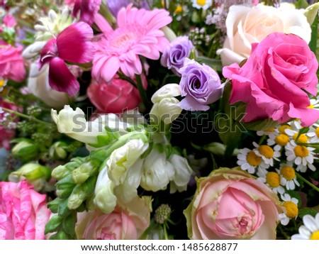 Colorful bouquet of different flowers, wedding texture, flower decoration #1485628877