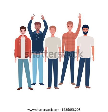 young men standing on white background #1485658208