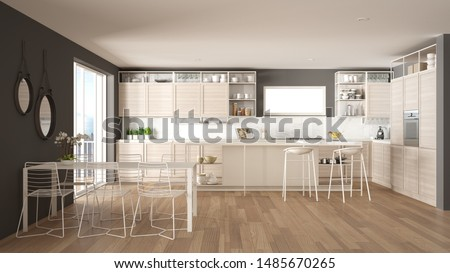 Penthouse minimalist kitchen interior design, lounge with sofa and carpet, dining table, island with stools, parquet. Modern contemporary white and gray architecture concept idea, 3d illustration #1485670265