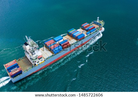 transportation business cargo containers logistics shipping service import and export international by the sea  aerial view from drones camera #1485722606