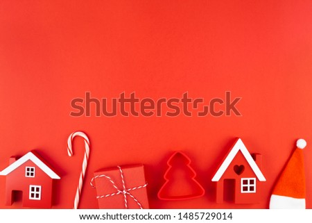 Christmas composition. New Year or Christmas flat lay top view Xmas holiday 2020 celebration decoration red paper background with copyspace. Template mockup greeting card text design #1485729014