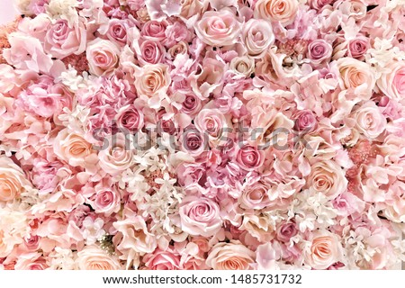 Beautiful summer flowers as background. Blossoming delicate roses on blooming flowers festive background, pastel and soft bouquet floral card. #1485731732
