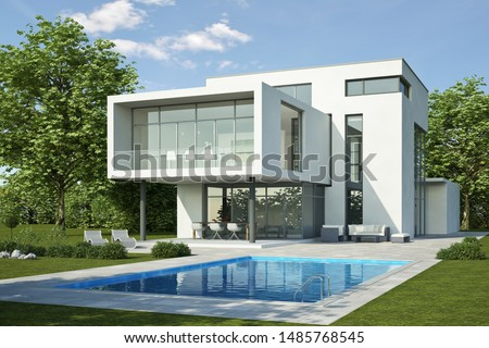 3d rendering of a modern house with pool #1485768545