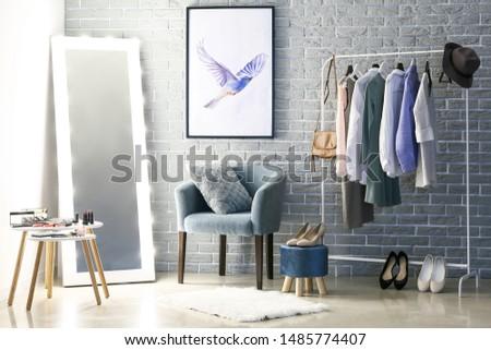 Interior of modern dressing room