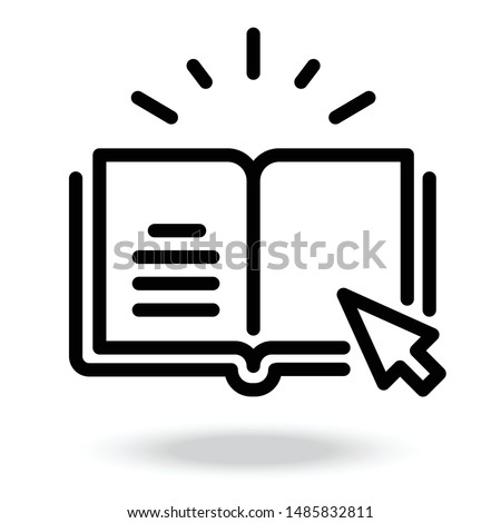 internet education concept, e-learning resources, distant online courses, vector line icon Royalty-Free Stock Photo #1485832811