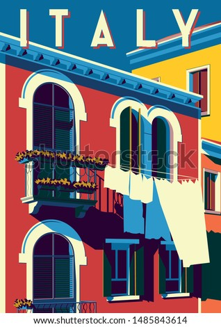 Sunny summer day in Italy. Handmade drawing vector illustration. Pop art retro poster. Can be used for posters, banners, postcards, books & etc. #1485843614