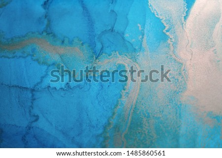 The picture is painted in alcohol ink. Abstraction will perfectly fit into a modern interior. Closeup of the painting. Colorful abstract painting background. Highly-textured oil paint. #1485860561