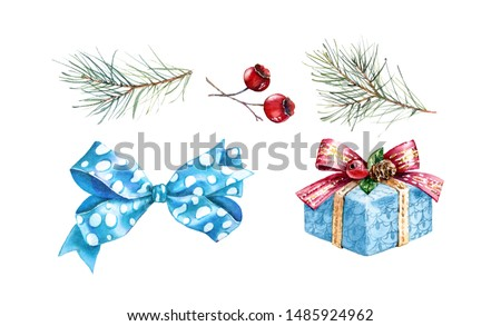 Christmas watercolor design elements. Hand painted illustration with pine tree, red berries, blue bow and present. Winter holiday gift isolated on white background for greeting card and decorations