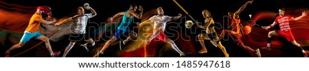 Creative collage of photos of 7 models on black in mixed light. Advertising, sport, healthy lifestyle, motion, activity, movement concept. American football, soccer, tennis volleyball basketball rugby Royalty-Free Stock Photo #1485947618