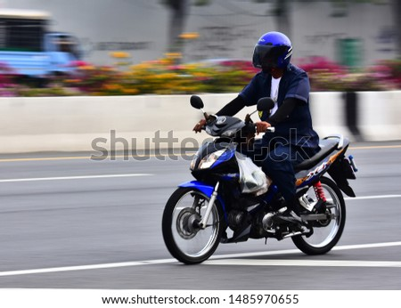 Daily life on small motor bikes in Bangkok,Thailand,16 January,2018 #1485970655