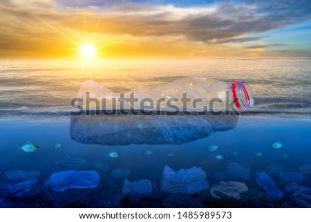 Plastic waste on the beach, sea, concept of nature and environment preservation #1485989573