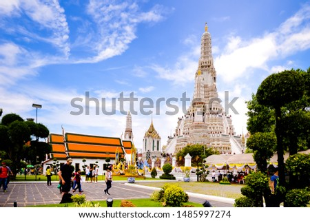 Bangkok,Thailand - July,17,2019 :Pagoda at Wat Arun temple, One of the famous temple in Thailand , This temple has many foreign visitors visiting each day, Bangkok , Thailand. #1485997274