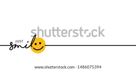 Slogan by happy and smile every day World smiling month Drawing emotion symbol Vector draw success relax quotes Relaxing and chill, motivation, inspiration message moment concept lazy ideas emoji time Royalty-Free Stock Photo #1486075394