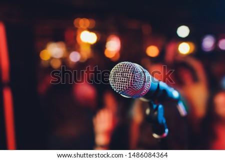 Microphone. Microphone close-up. A pub. Bar. A restaurant. Classical music. Music. #1486084364