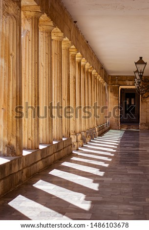 Beautiful view of colonnade and the shadows in Corfu, Greece. #1486103678