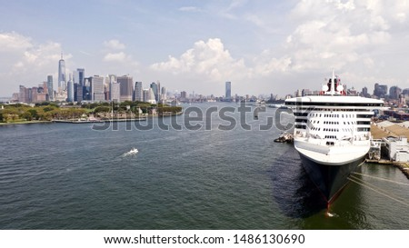 large docked ship on the East River of New York City on a sunny day #1486130690