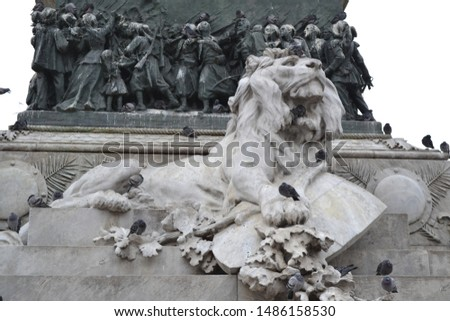 Sculpture of a lion at the foot of the monument to Victor Immanuel in Milan. #1486158530