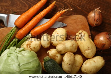 Vegetable Harvest Still Life: Potato, Carrot, Beet, Zucchini, Onion, Cabbage. #148617140