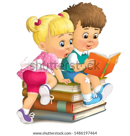 Illustration. Children sit on a stack of books and look at one of them.