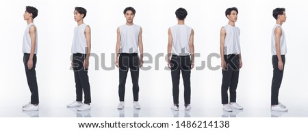 Collage pack group of Asian Teenager man express many acting posing in full length snap body. Studio lighting white background isolated. rear side back view 360 #1486214138