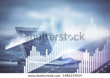 Double exposure of hands and notepad with business icons. Concept of international business. #1486219019