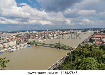 Liberty Bridge was built between 1894 and 1896 to the plans of Janos Feketehazy. #148627865