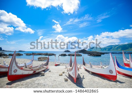 """The traditional canoes at Lanyu island in Taiwan. The Canoes there is called """"tatala"""", Lanyu island also is called Orchid Island. The native people is called """"Tao"""". #1486402865"""