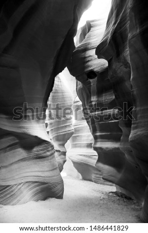 tribute to ansel Adams, Black and white creative photography of Antelope canyon in Arizona, USA. Abstract photo, art, tourist destiny, erosion,