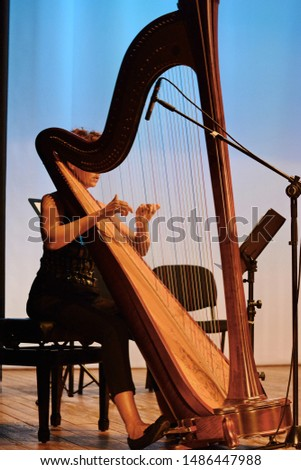 Harp player. Classical musician harpist playing harp. Female musician playing the harp. #1486447988