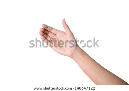 Woman hand like holding mobile phone, card, tablet pc or smth else  #148647122