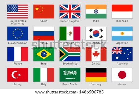G20 countries flags. Major world advanced and emerging economies states, official Group of Twenty flag labels. International financial summit forum meeting flags symbols. Isolated vector icons set #1486506785