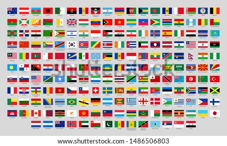 World national flags. Official country signs, europe emblems, asia and america countries flags. International language knowledge or Africa, Canada and Japan. Flat isolated vector icons set #1486506803