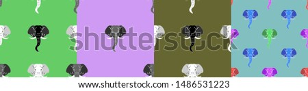 Set of seamless patterns. The heads of multicolored elephants #1486531223