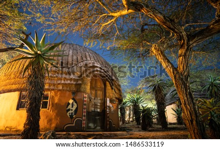African village at night in zululand, Kwazulu natal, South Africa  Royalty-Free Stock Photo #1486533119