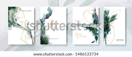 Wedding invitation frame set, flowers, leaves, mess and watercolor minimal vector. Sketched wreath, floral, herbs garland. Card with gold, gems, spots. Handdrawn Vector Watercolour style Royalty-Free Stock Photo #1486533734