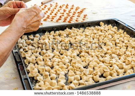 The woman making meaty ravioli (Turkish: manti). Manti in Asian cuisines are usually larger in size. They are steamed in a multi level metal steamer called mantovarka, mantyshnitsa, manti kazan. #1486538888