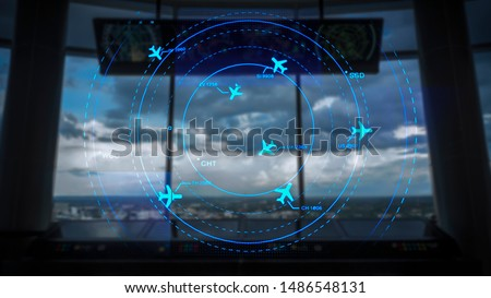 Simulation screen showing various flights for transportation and passengers. Royalty-Free Stock Photo #1486548131