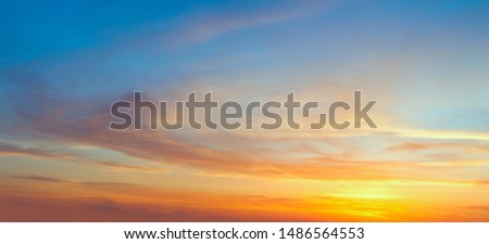 Real panoramic sunrise sundown sky with gentle colorful clouds. Big size #1486564553