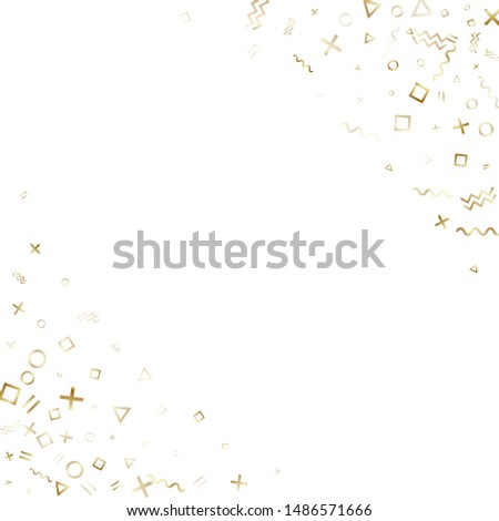 Memphis style gold geometric confetti vector background with triangle, circle, square shapes, zigzag and wavy line ribbons. Small 90s style memphis gold sparkle confetti flying on white. #1486571666