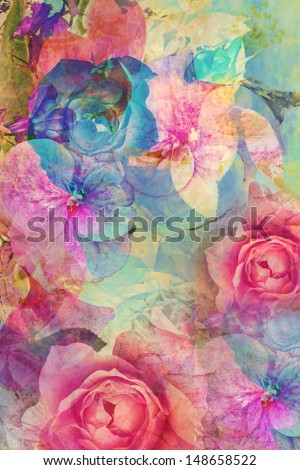 Vintage romantic background with roses and hydrangeas