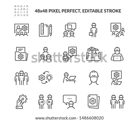 Simple Set of Engineering People Related Vector Line Icons. Contains such Icons as Teamwork, Tech Presentation, Communication and more. Editable Stroke. 48x48 Pixel Perfect. Royalty-Free Stock Photo #1486608020