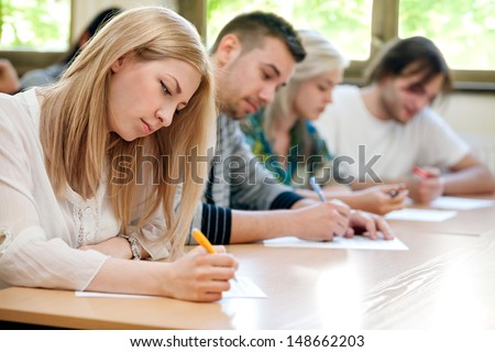 group of students takes the test in class #148662203