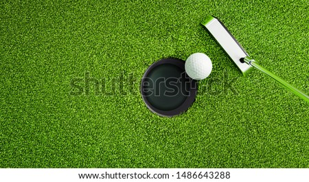 Top view of a golf ball with putter on green course at hole - 3D illustration #1486643288