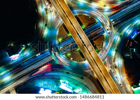 Arial view of Modern transportation with Expressway, Road and Roundabout, multilevel junction highway-Top view. Important infrastructure. #1486684811